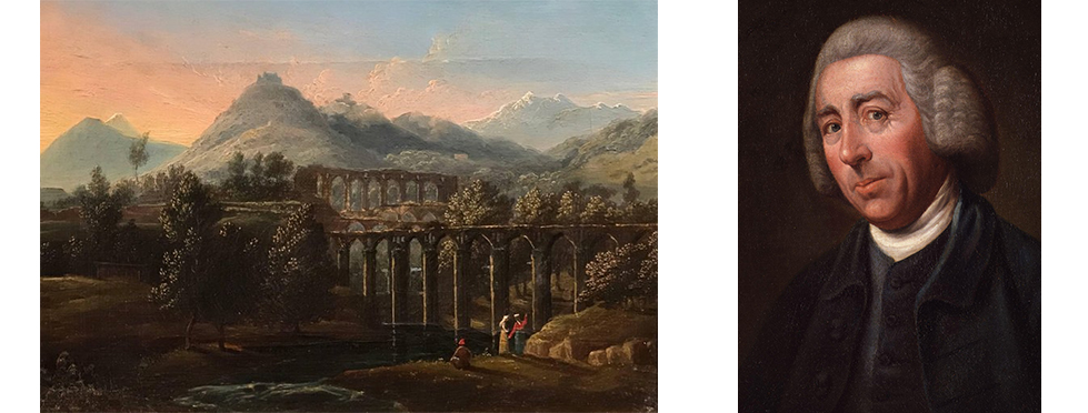 """Italian landscape painting and portrait of Lancelot """"Capability"""" Brown."""