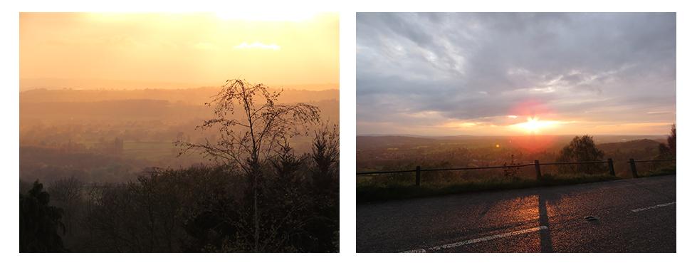 Views of sunset over the Malvern Hills, England